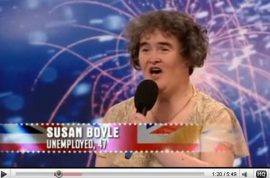 Why did millionaire Susan Boyle apply for a minimum wage local cashier's job?