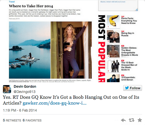 GQ left a breast hanging in one of its articles