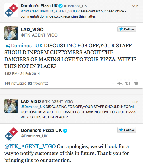 Domino's customer burned penis