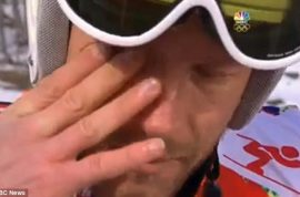 Bode Miller crying. Defends NBC reporter who reduced him to tears.