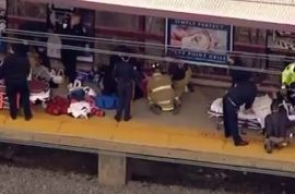 Frank Farriella's body parts injure bystanders after struck and killed by oncoming train.