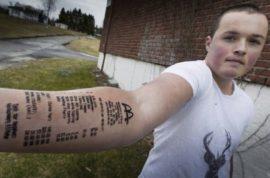 Stian Ytterdahl, Norwegian teen tattoos McDonald's receipt on arm.