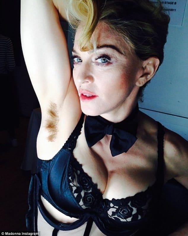 Madonna Instagram of a hairy armpit