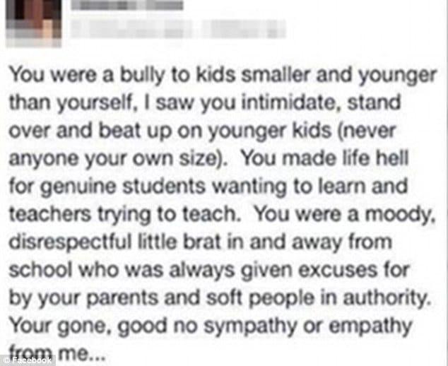 Australian teacher posts Facebook post praising student's suicide.