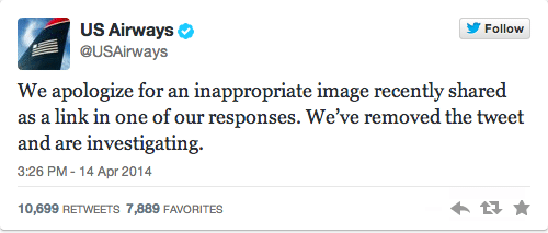 US Airways account tweets masturbating picture