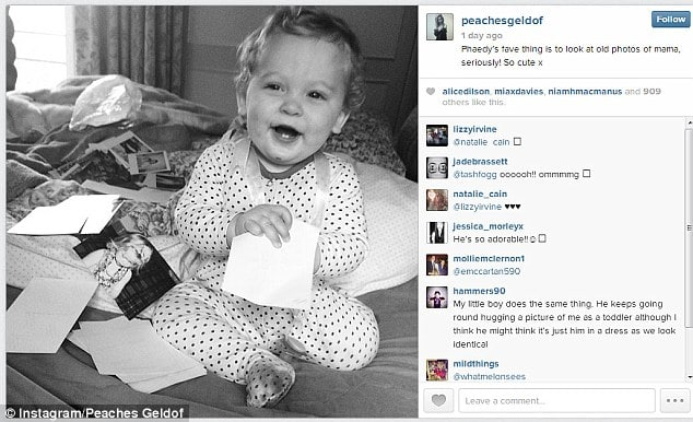 Peaches Geldof posted 7 family photographs