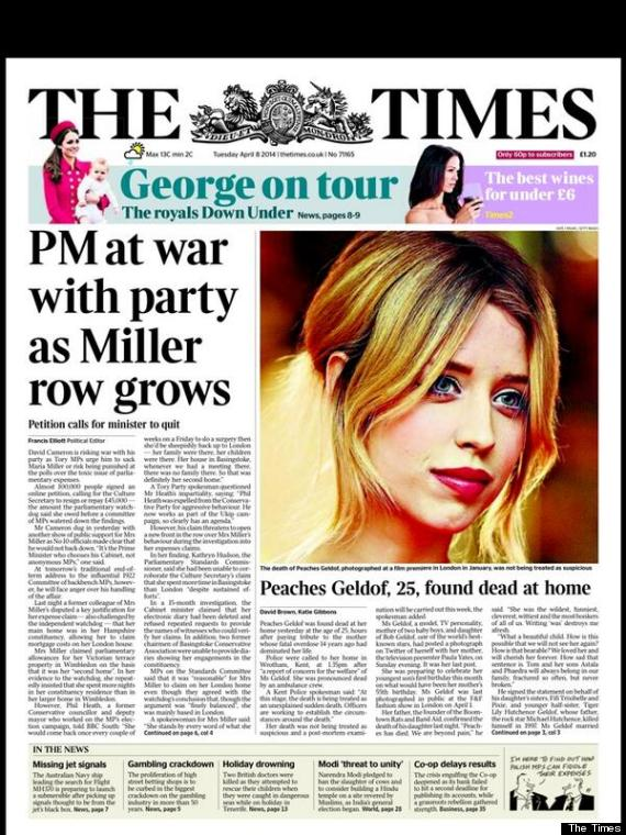 Peaches Geldof UK headlines