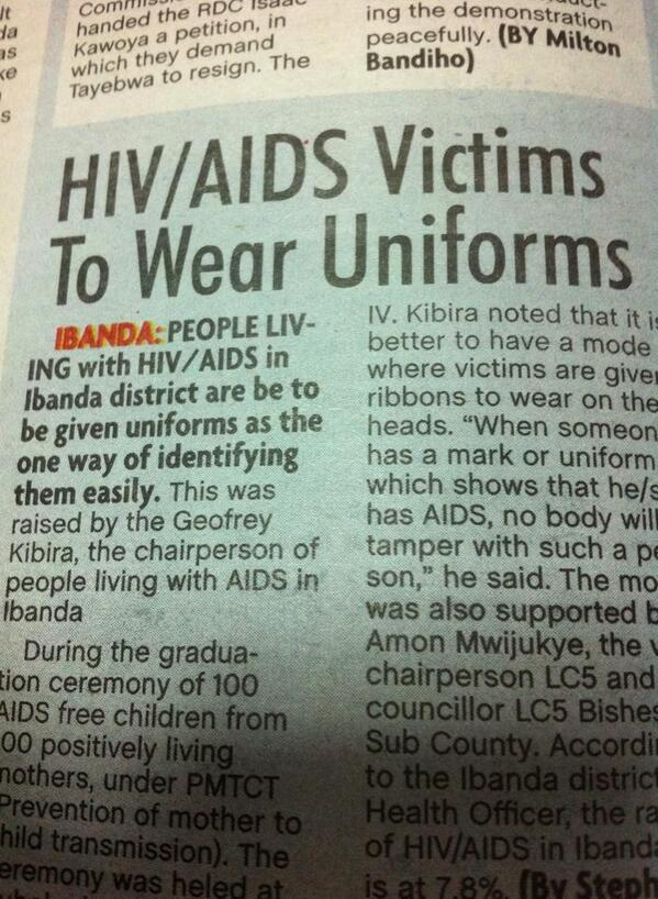 Uganda Hiv/Aids victims to wear uniforms
