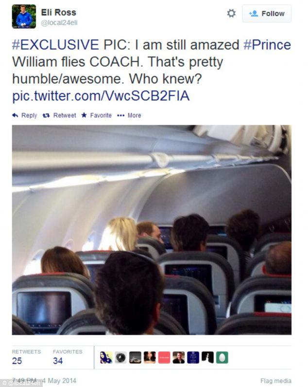 Prince William flies economy class