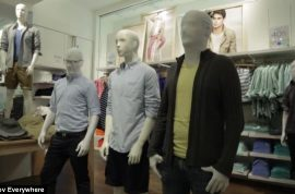 Prank group Improv Everywhere stages mannequin flash mob at Manhattan Gap