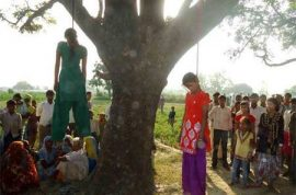 Indian gang, including cop, killed two teenage sisters before hanging their bodies from a tree.