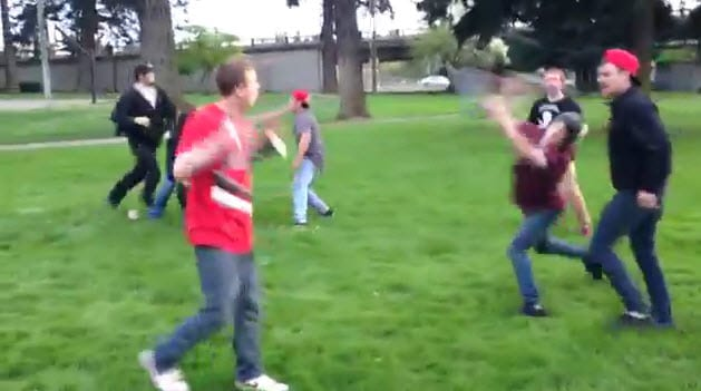 boy being hit by a scoote