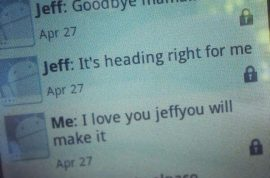 Jeffrey Hunter, college student sends mother good bye text as tornado struck.