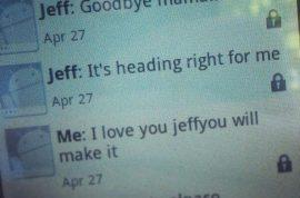 Jeffrey Hunter, college student sends mother good bye text as tornado struck.