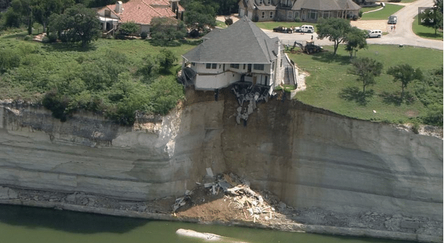 Mansion dangling off cliff