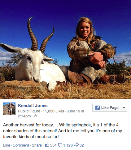 Facebook takes down Kendall Jones teenage hunter Facebook page