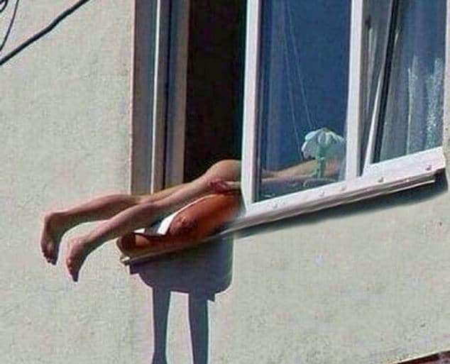 Naked Austrian sunbather