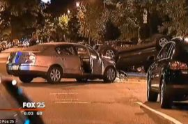 Boston couple on evening walk killed as car flips and hits them.