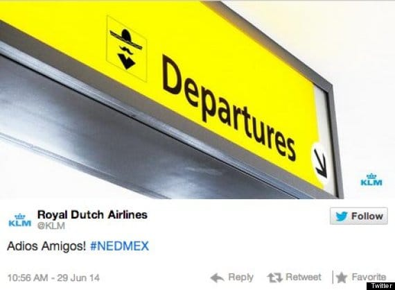 KLM Airlines posts racist tweet after Mexico's World Cup loss