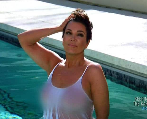 Kris Jenner topless wet t-shirt