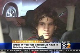 Noel Estevez stabs classmate to death for bullying him. Brought knife to protect self