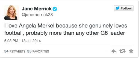 German Chancellor Angela Merkel World Cup