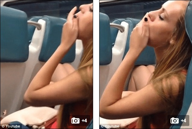 Metro North drunk girl eats potato chips off the floor