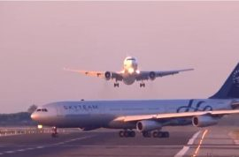 Video of two planes nearly crashing at Barcelona airport