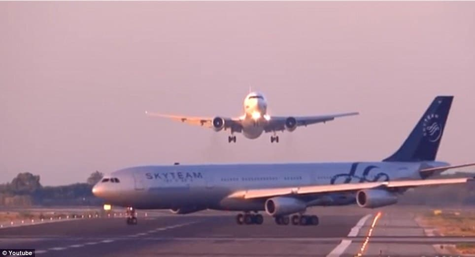two planes nearly crashing at Barcelona airport