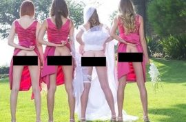 Pictures: Bum baring bridesmaids are the new wedding trend