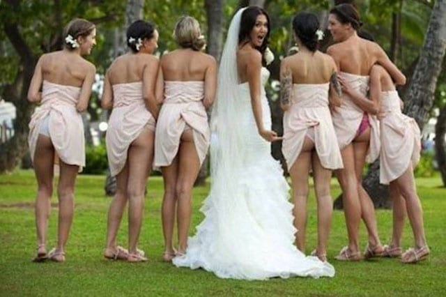 bum baring bridesmaids