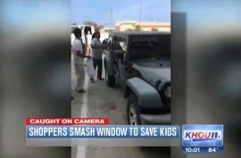 Video: Texas Mall shoppers smash car window to save screaming children in hot car