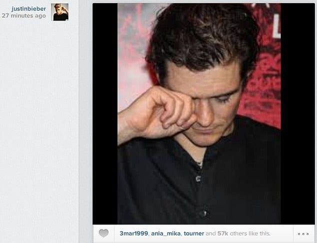 Orlando Bloom crying