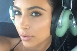 Kim Kardashian instagrams from helicopter cause the Hamptons had no reception