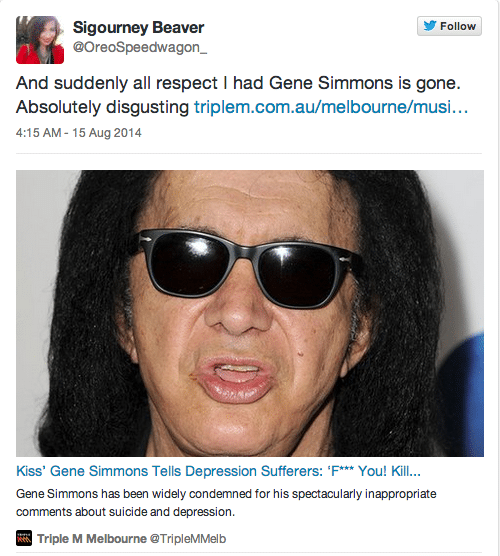 Gene Simmons of Kiss tells depressed people to commit suicide