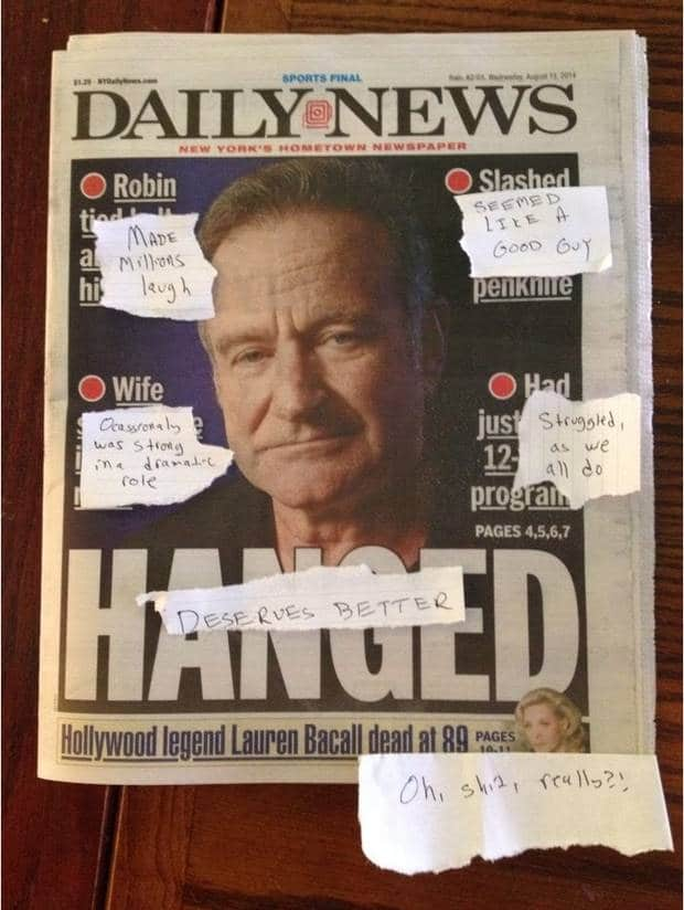 media sensationalized Robin Williams death