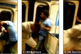 Video: Two Baltimore teens trying to throw man off moving train