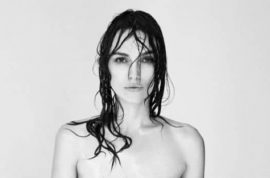 Keira Knightley topless. Un photoshopped cause she wants you to see what real women's breasts look like.