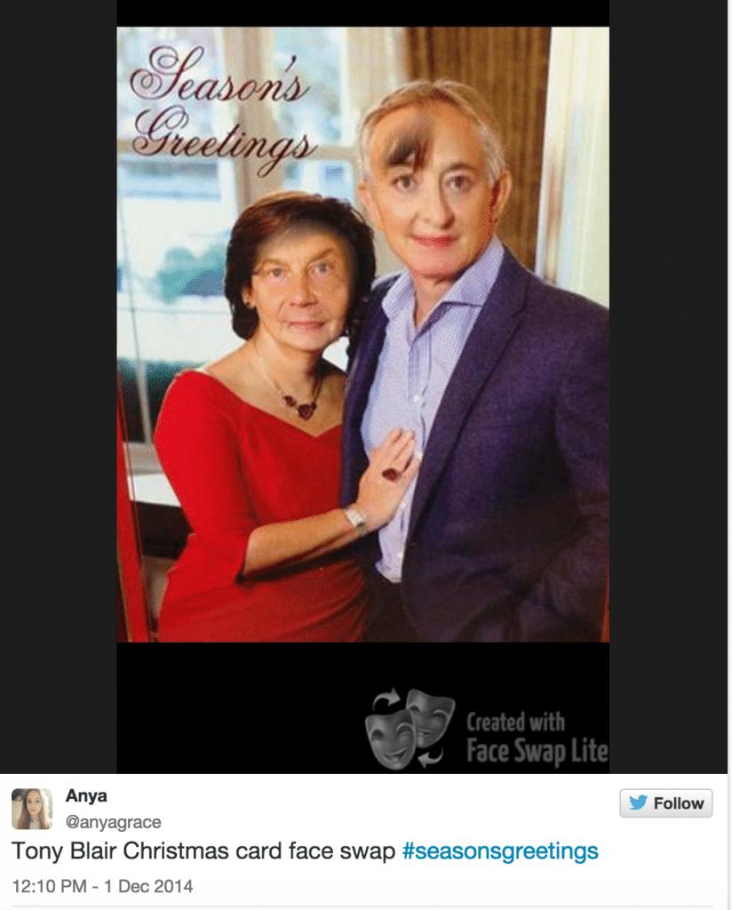Tony Blair Christmas card fail (nightmare) goes viral.