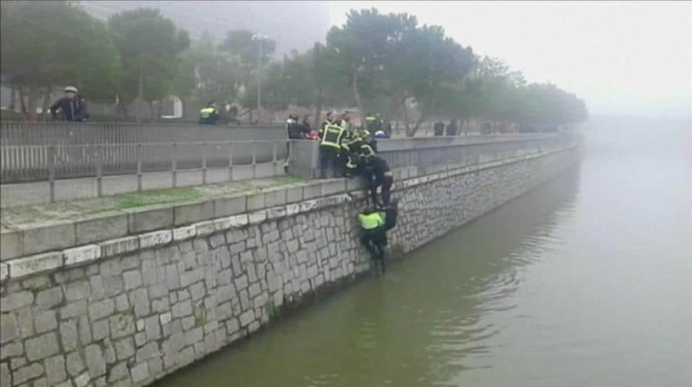 Spanish soccer fan thrown in the river