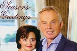 Tony Blair Christmas card fail (nightmare) goes viral.