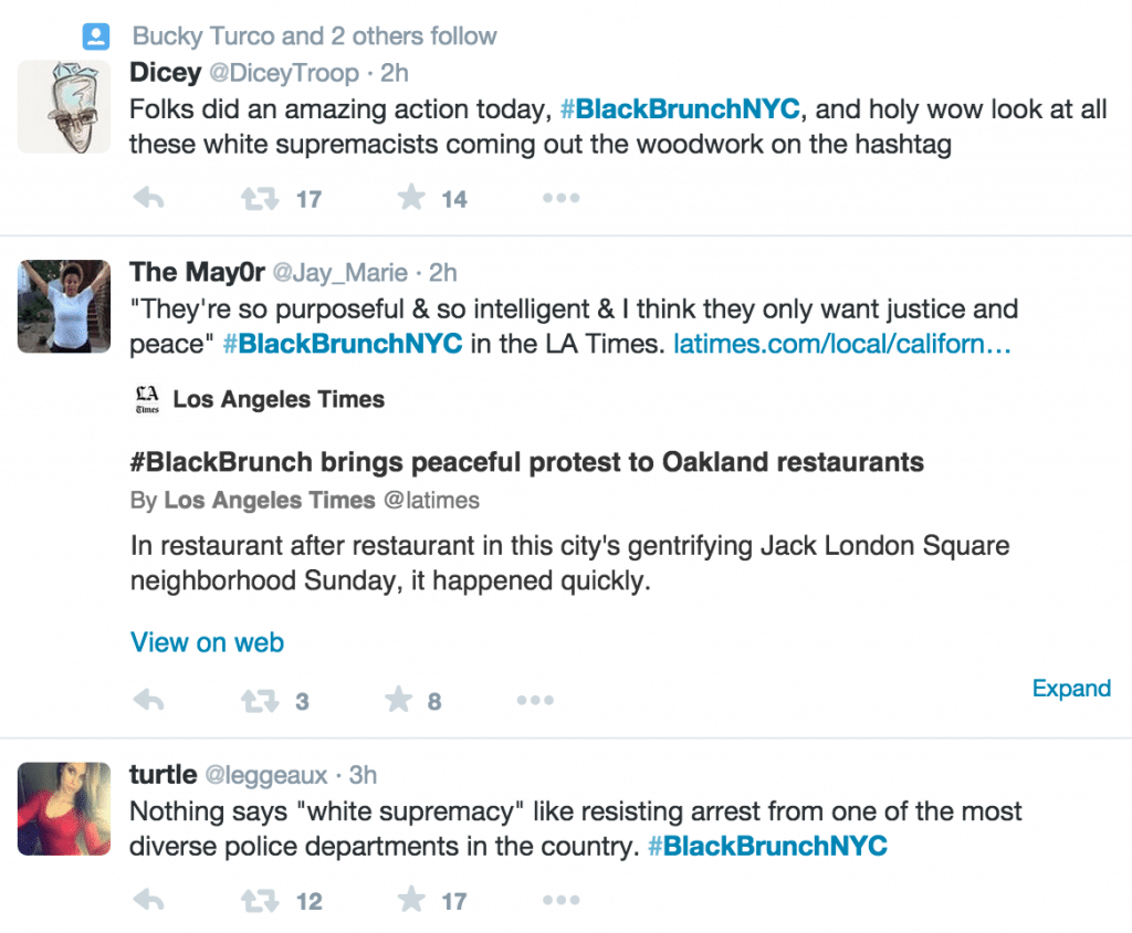 Black Brunch demonstrators