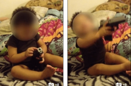 Video: 12 month old child playing with gun shouting pow leads to parents arrest.