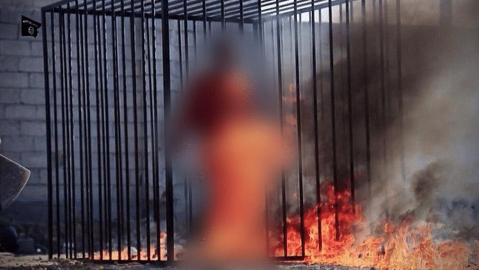 ISIS burns captured Jordanian pilot alive video