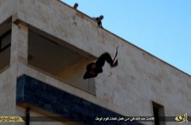 ISIS throw off another gay man from top of building. Crowds cheer.