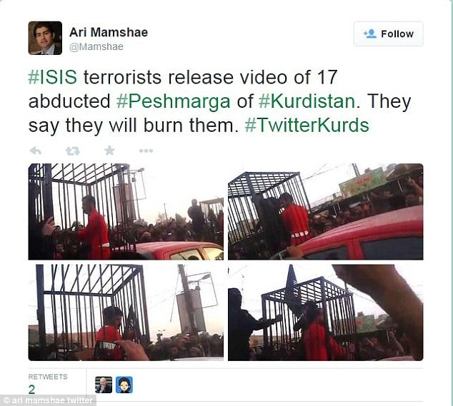 ISIS parades 17 Kurdish fighters in cages