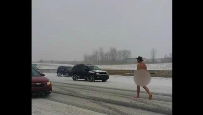 Naked Michigan man in cowboy hat walks down I-75