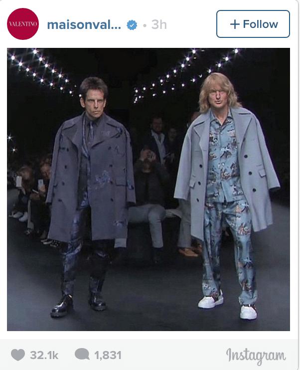 Ben Stiller and Owen Wilson walk in Valentino show