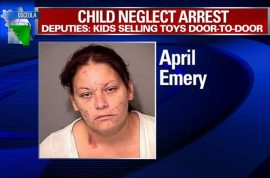 April Emery, Florida mother arrested after kids found selling toys door to door to help save mommy