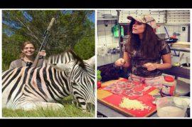 Michaela Fialova, sexy Czech hunter posts pictures of how to cook zebra